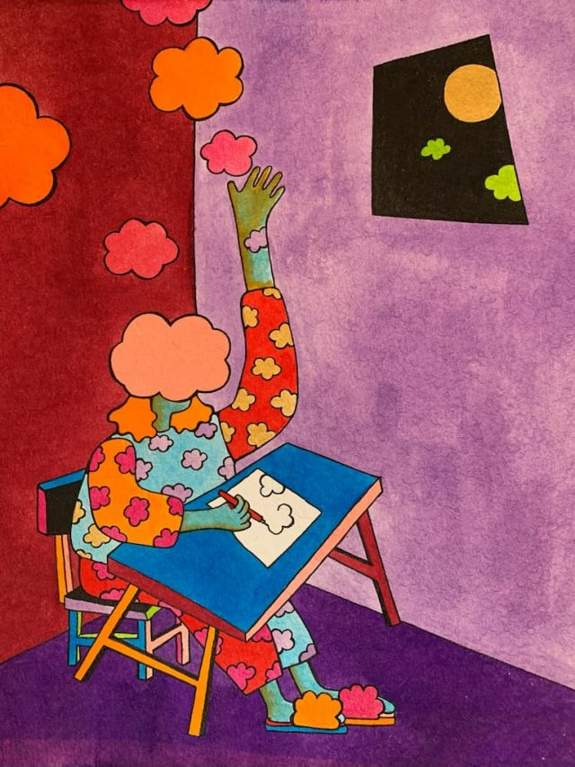 Artwork: a figure sits at a desk, drawing cloud shapes on paper, with one arm raised