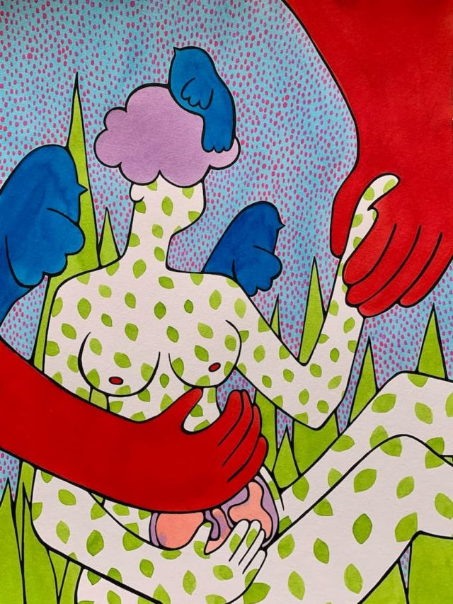 Artwork: a figure sits, with two large red arms reaching down towards her. Round birds sit on her shoulders and hair